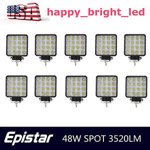 10x 48w 12v 24v Led Work Light Spot Light Offroad Fits Ford Atv Suv Boat Truck