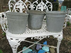 Lot Of 3 Vintage Galvanized Buckets Garden Planter Flower Pot Patio Rustic