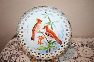 Beautiful Vintage Reticulated Hand Painted Bird Plate From Japan