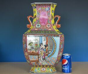 Magnificent Antique Chinese Famille Rose Porcelain Vase Marked Qianlong G7878