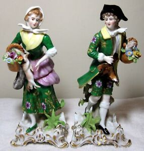 Antique Set Of 2 Edme Samson Paris France Porcelain Figurine
