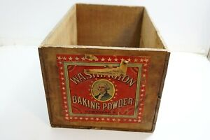 Antique Vintage Washington Baking Powder Wooden Shipping Crate Box 20 X 13