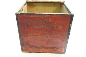 Antique F P Garrettson Co Tea And Coffee Wooden Shipping Crate Box 11 X 11
