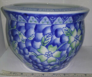 Vintage Chinese Blue Green Porcelain Fish Bowl Jardiniere Planter Pot 6 Tall
