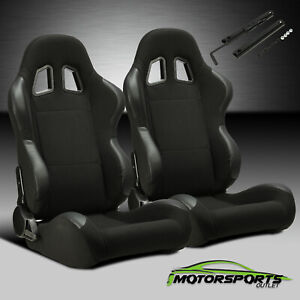 Pair Black Pineapple And Pvc Patxhes Fabric Racing Seats single Adjustor