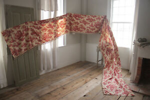 Toile De Jouy Fabric Bed Valance Pelmet 22 Feet Long Red Printing French Cotton