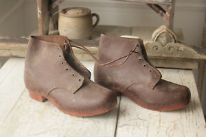 Antique Boots French Work Wear Brown Leather Wooden Sole Dating To The 1800 S
