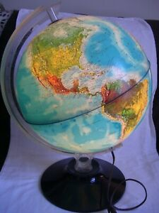 Vintage Rand Mcnally Lighted Globe 1982 Physical Political Lamp 12 Ex Condition