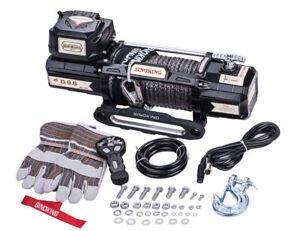 Sinoking 9600lbs 12v Electric Winch Synthetic Rope Truck Suv Wireless Remote