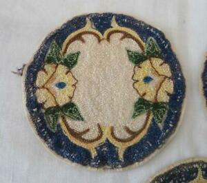 Vintage Blue Arts Crafts Era Embroidered Doilies Coasters Blue Doll House Rug