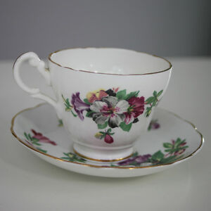 Crownford England Floral And Gold Bone China Tea Cup And Saucer