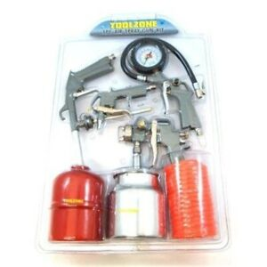 5pc Air Spray Gun Kit Quality 5 Piece Compressor Line Accessories Tools Hose