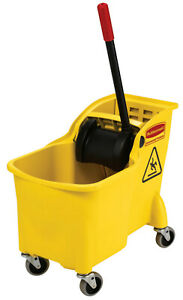Free Ship Rubbermaid Commercial Tandem Bucket And Wringer Combo 31 Qt Yellow