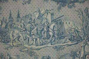 Blue Toile Fabric Joan Of Arc Bolbec Printed C 1825 Antique French Bed Cover