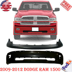 Front Bumper Steel Black W Fog Holes Upper Cover For 2009 2012 Dodge Ram 1500