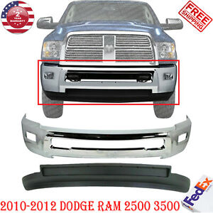 Front Bumper Chrome Air Dam W Fog Hole For 2010 2012 Dodge Ram 2500 3500 4wd