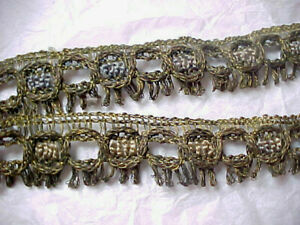 2 Peices 18 X 1 Metal Thread Lace Antique Victorian Salvage