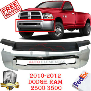 Front Steel Bumper Chrome Air Dam W o Hole For 2010 2012 Dodge Ram 2500 3500 2wd