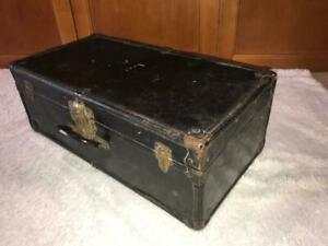 Vintage Antique Metal Travel Trunk Suitcase Black Color
