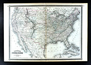 1869 Johnson Map United States Indian Territory Oklahoma Dakota California Texas