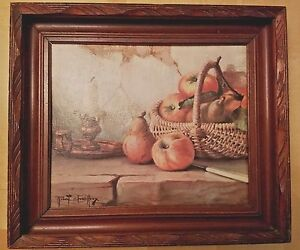 Antique Adirondack Deep Hand Carved Dark Wood Picture Frame W Print