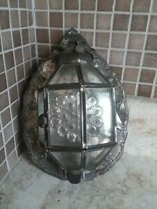Primitive Antique Punched Tin Candle Wall Sconce Holder Glass Cased 9 3 4 X 7