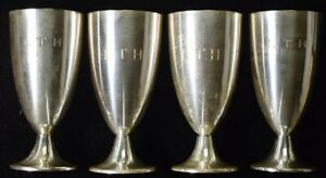 Set Of 4 Tiffany Sterling Cordial Liqueur Cups Shot Glasses Pouches