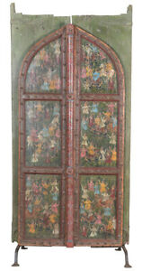 Antique Hand Painted Old Carved Doors On Stand 45 X 96 H