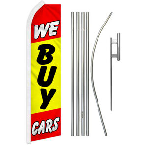 We Buy Cars Super Flag Kit Tall Advertising Super Swooper Feather Banner Sign
