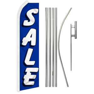 Sale Swooper Advertising Feather Flutter Flag Pole Kit Blue white Sale Here