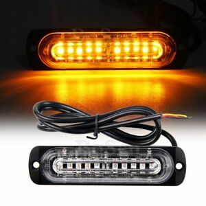 2x 10 Led Amber Flashing Warning Emergency Vehicle Grill Side Strobe Light Bar