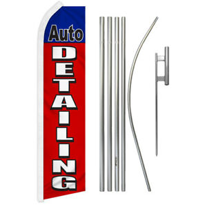 Auto Detailing Super Flag Kit Tall Advertising Super Swooper Feather Banner Sign
