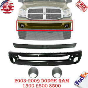 Front Bumper Primed Filler Fog For 02 08 Dodge Ram 1500 03 09 2500 3500