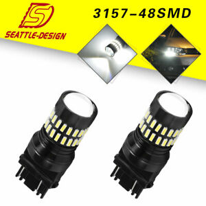 2x White 3157 3156 48smd 4014 Backup Reverse Parking Led Light Bulbs Led 12 24v
