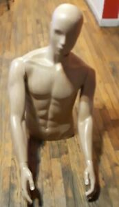 Tan Wood Designed Mannequin Male Torso Dress Form With Detachable Arms July 2013