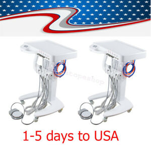 2x 4 h Usa Dental Mobile Portable Delivery Cart Turbine Unit 600ml Water Bottle