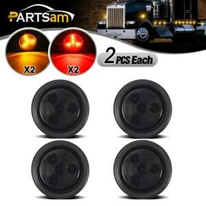 4x 2 Inch Round Red Amber Side Marker Clearance 4led Smoke Lens Trailer Lights