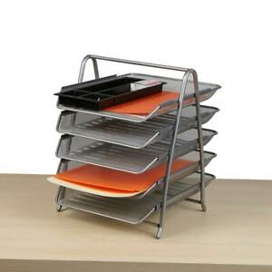 Mind Reader Desk Organizer With 5 Sliding Trays For Letters Documents Mail