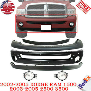 Front Bumper Blk Cap Up Cover Valance W Fog Lights For 2002 2005 Dodge Ram 1500
