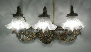 Antique Vintage Brass Sconce Glass Shades 3 Lt Vanity Ornate
