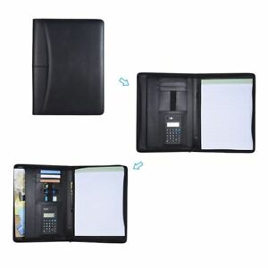 Pu Leather Portfolio Professional Business Folder Document Case With Calculator