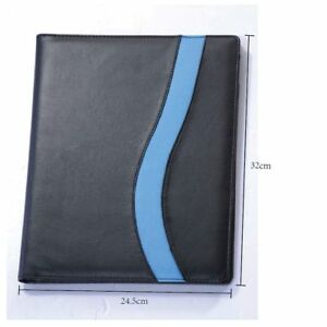 Pu Cover With Note Card Pen Holder File Pocket Slots Office Document Portfolio