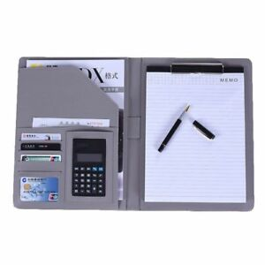 File Folder Notebook Briefcase With Calculator Padfolio Leather Binder Manager