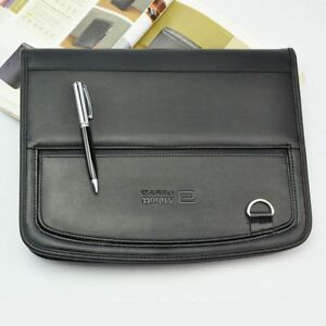 Leather Portfolio Documents A4 File Folder Manager Bag Briefcase Mobile Pocket