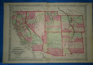 Vintage 1867 Colorado Utah Arizona New Mexico Territory Map Antique Original