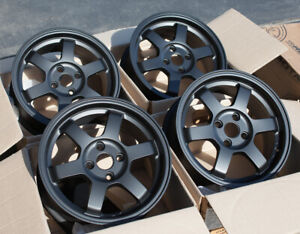 Used Set 15x6 5 38 Rota Grid 4x100 Rims Fits Miata Integra Civic Delso
