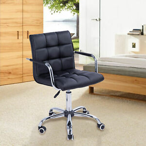Black Executive Modern Office Chair Computer Desk Task Pu Leather Swivel