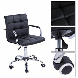 Black Executive Modern Office Chair Computer Desk Task Pu Leather Swivel Chair