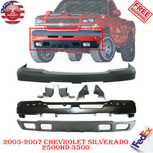 Front Bumper Cover Valance brk W fog For 03 07 Chevy Silverado 2500hd 3500