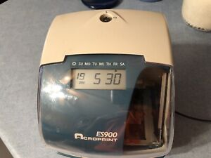 Acroprint Es900 Electronic Payroll Recorder time Stamp numbering Machine Tested